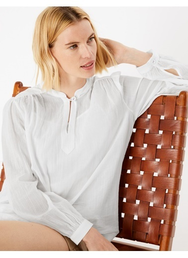 Marks & Spencer Saf Pamuklu Uzun Kolu Bluz Beyaz